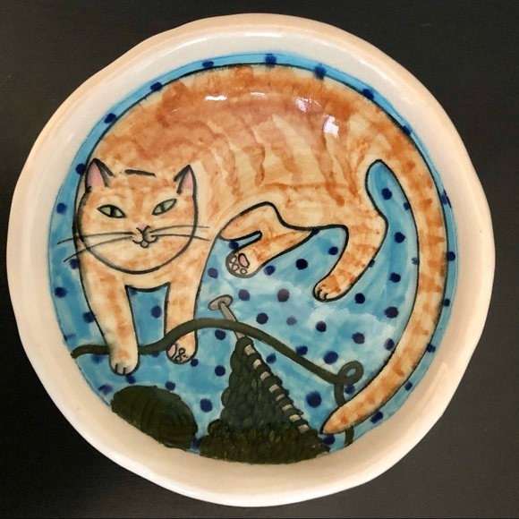 Cat Pottery Bowl, Hand Thrown & Signed